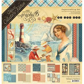 Papier scrapbooking assortiment Graphic 45 by the sea recto verso 30x30 24fe