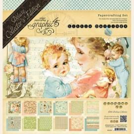 Papier scrapbooking assortiment Graphic 45 little darlings recto verso 30x30 24fe