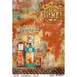 Papier de riz station d'essence 22x32cm Ciao Bella