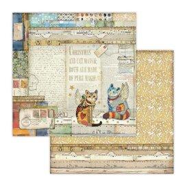 Papier scrapbooking réversible Stamperia noël chat en papier 30x30