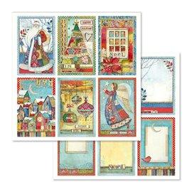 Papier scrapbooking réversible Stamperia cartes de noël 30x30