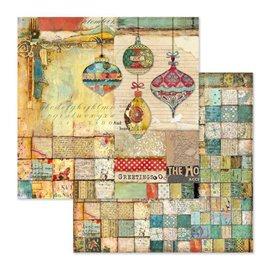 Papier scrapbooking réversible Stamperia décorations de noël 30x30