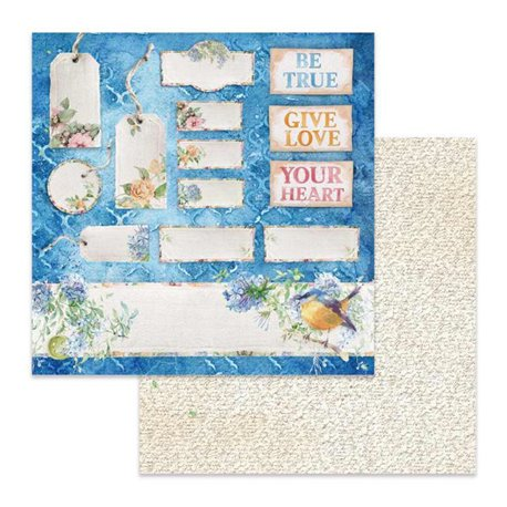 Papier scrapbooking réversible Stamperia fleurs tag et étiquettes 30x30