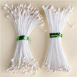 Pistils Etamines pour coeurs de fleurs blanc nacré et mat 2mm