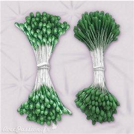 Pistils Etamines pour coeurs de fleurs vert nacré et mat 2mm