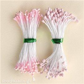 Pistils Etamines pour coeurs de fleurs rose nacré et mat 2mm