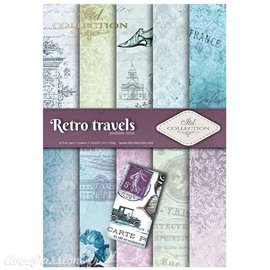 Papier scrapbooking A4 assortiment 12 tag + 5fe recto verso Retro travels