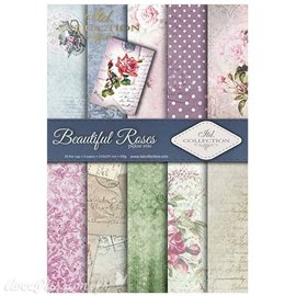 Papier scrapbooking A4 assortiment 12 tag + 5fe recto verso Beautiful roses