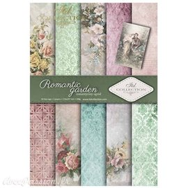 Papier scrapbooking A4 assortiment 12 tag + 5fe recto verso Romantic garden