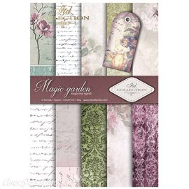 Papier scrapbooking A4 assortiment 12 tag + 5fe recto verso Magic Garden