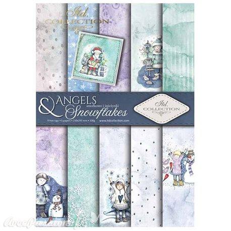 Papier scrapbooking A4 assortiment 12 tag + 5fe recto verso Angels & Snowflakes