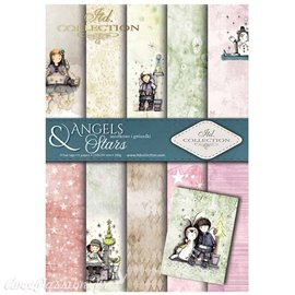 Papier scrapbooking A4 assortiment 12 tag + 5fe recto verso Angels & Stars
