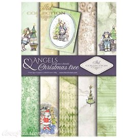 Papier scrapbooking A4 assortiment 12 tag + 5fe recto verso Angels and Christmas trees