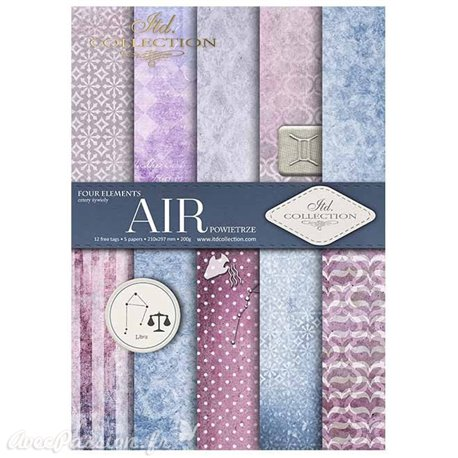 Papier scrapbooking A4 assortiment 12 tag + 5fe recto verso Air