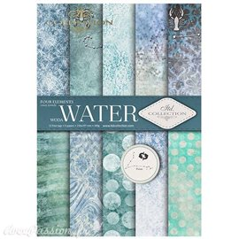 Papier scrapbooking A4 assortiment 12 tag + 5fe recto verso Water