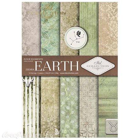 Papier scrapbooking A4 assortiment 12 tag + 5fe recto verso Earth