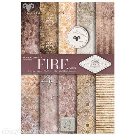 Papier scrapbooking A4 assortiment 12 tag + 5fe recto verso Fire