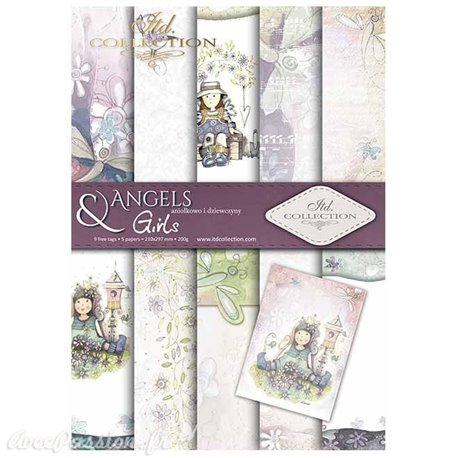 Papier scrapbooking A4 assortiment 12 tag + 5fe recto verso Angels & Girls