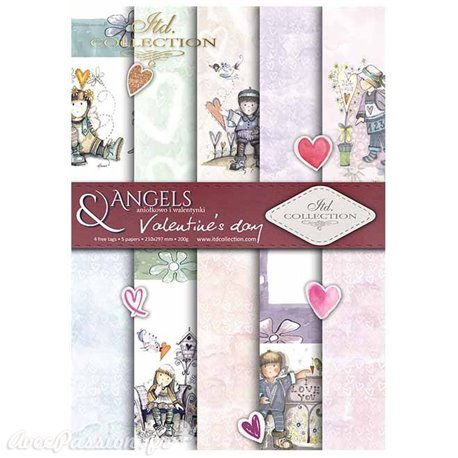 Papier scrapbooking A4 assortiment 12 tag + 5fe recto verso Valentine's Day