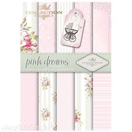 Papier scrapbooking A4 assortiment 12 tag + 5fe recto verso pink dreams
