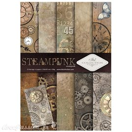 Papier scrapbooking A4 assortiment 12 tag + 5fe recto verso steampunk