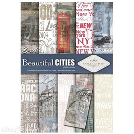 Papier scrapbooking A4 assortiment 12 tag + 5fe recto verso Beautiful Cities