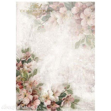 Papier scrapbooking sur papier calque A4 fleurs