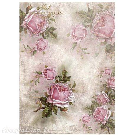 Papier scrapbooking sur papier calque A4 roses