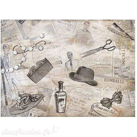 Papier scrapbooking sur papier calque A4 journal et chapeaux