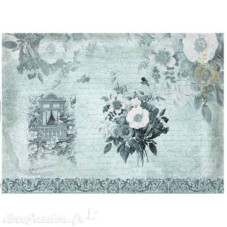 Papier scrapbooking sur papier calque A4 fleurs bleues