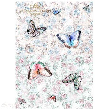 Papier scrapbooking sur papier calque A4 papillons colorés