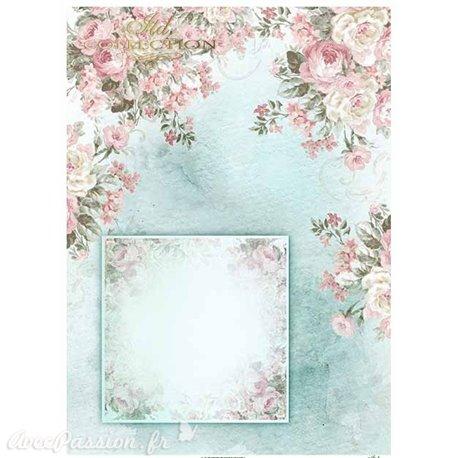 Papier scrapbooking sur papier calque A4 cadre et fleurs