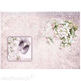 Papier scrapbooking sur papier calque A4 chausson et fleurs
