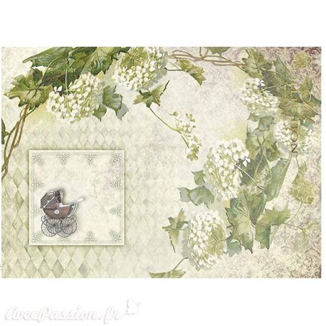 Papier scrapbooking sur papier calque A4 landeau et hortensias
