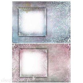 Papier scrapbooking sur papier calque A4 cadres rose & bleu