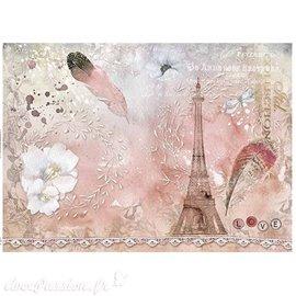 Papier scrapbooking sur papier calque A4 Tour Eiffel et plume