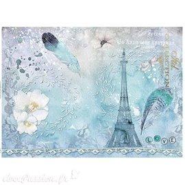Papier scrapbooking sur papier calque A4 Tour Eiffel et plume sur bleu