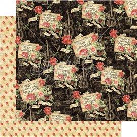 Papier scrapbooking réversible Graphic 45 melodic missives 30x30