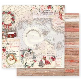 Papier scrapbooking Prima réversible Noël northern regions 30x30