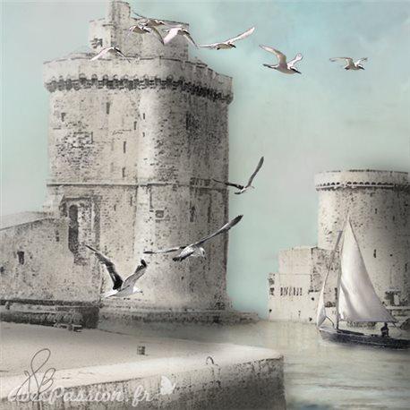 Carte d'art Valie Le Boeuf Les tours de La Rochelle