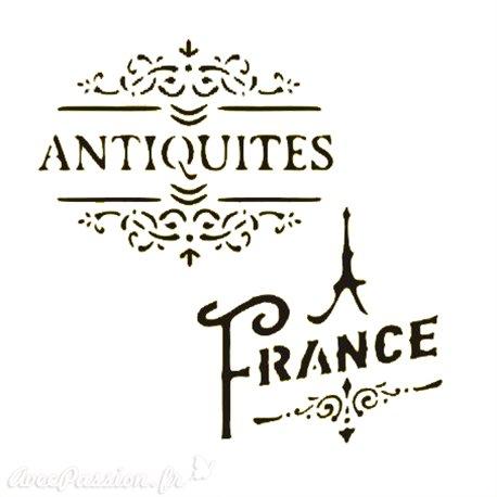 Pochoir plastique Antiquités France 16x16cm