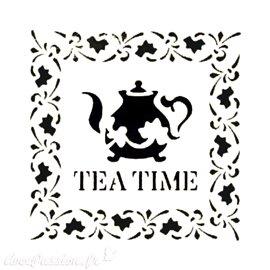 Pochoir plastique 16x16cm tea time