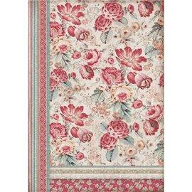 Papier de riz Stamperia 42x30cm fleurs rouge