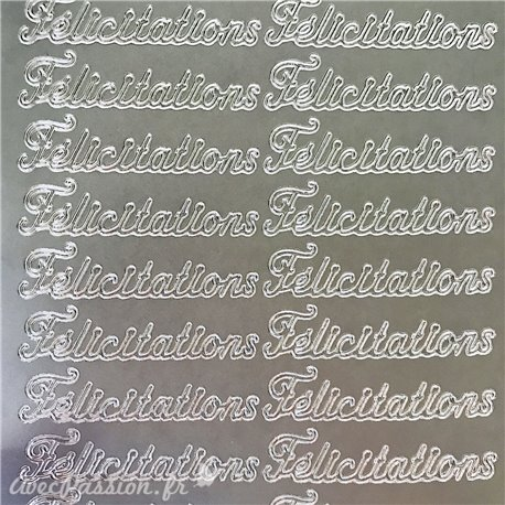 Sticker peel off adhésif félicitations argent