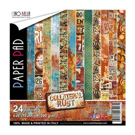 Papier scrapbooking 15x15 assortiment collateral rust 24f