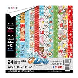 Papier scrapbooking 15x15 assortiment zoe & ziggy 24f