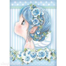 Papier de riz Stamperia 21x29,7cm fille bleue