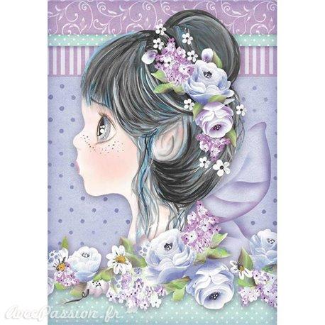 Papier de riz Stamperia 21x29,7cm fille violette