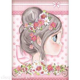 Papier de riz Stamperia 21x29,7cm fille rose