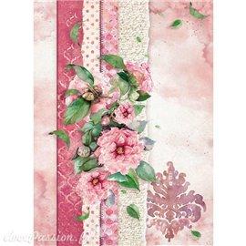 Papier de riz Stamperia 21x29,7cm papier déchiré & fleur rose
